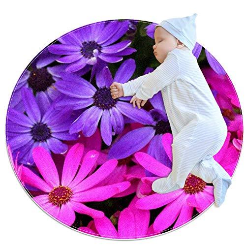 RogueDIV Kleurrijke bloemen planten baby Circular Game Matt Crawling Matte Air Conditioning Carpet voor kinderen Toddler Bedroom
