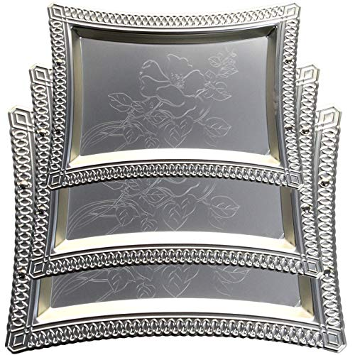 Maro Megastore (Pack of 3) Large: 20.1-Inch x 15-Inch Medium: 16.9-Inch x 12.6-Inch Small: 14.2-Inch x 10.6-Inch Chrome Serving Mirror Tray Decorative Decor Party Wine Platter Plate TLA-086