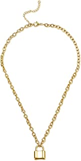 Lock Chain Necklace, Stainless Steel Silver Gold Lock Pendant Necklace Padlock Chain Necklace