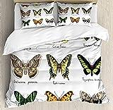 Juego de funda de edredón con diseño de mariposas, estilo acuarela, insectos, urania, helio Saturnia, pavonia, decoración de 3 piezas, juego de cama con 2 almohadas, color amarillo pálido