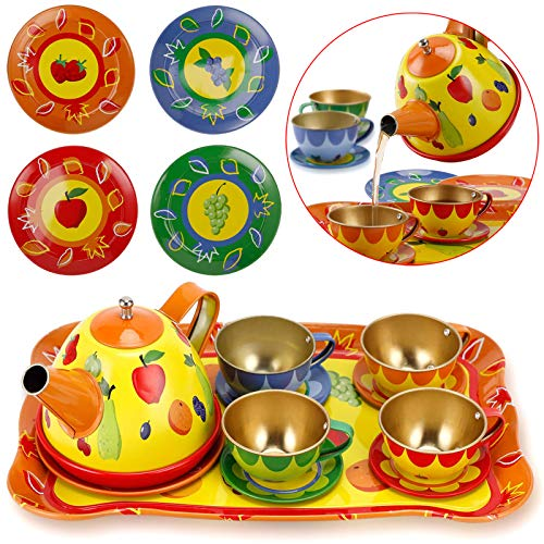Price comparison product image Liberty Imports Colorful Fruit Tin Tea Party Set for Kids - Metal Teapot and Cups Kitchen Playset