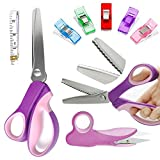 Pinking Shears Set (Pack of 8 PCS),Professional Dressmaking Scissors Crafts Zig Zag Cut Scissors with Sharp Stainless Steel Blades,Comfortable Handle ,Pinking Shears for Fabric