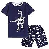 Bricnat Pijama corto de dos piezas para niño, de algodón, para verano, para niños azul marino 100 cm