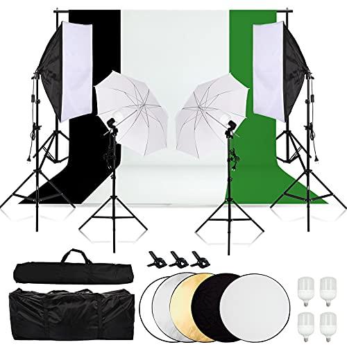 TFSKY Hintergrund Stützsystem Fotostudio Set mit Softbox, 3X Hintergrundstoff(weiß, grün, schwarz), 4X LED Dauerlicht, 5in1 Reflektor, Studiosets für Fotostudio Produkt Porträt sowie Video Fotografie