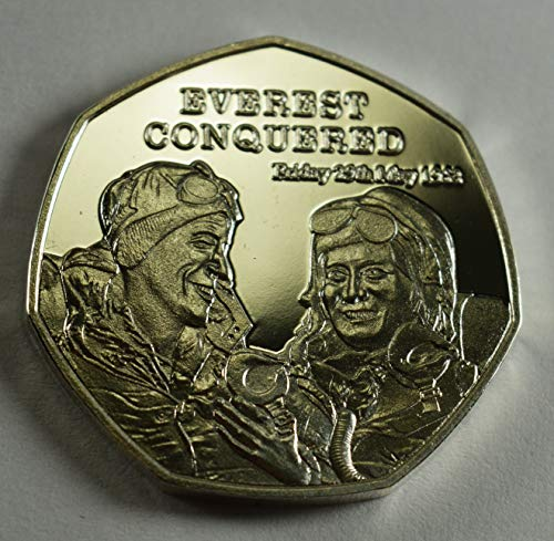 Everest Conquered Moneta commemorativa in Argento 20TH Century News Serie 'The Centurion' Album/50p Coin Hunt Collectors Edmund Hillary, Tenzing Norgay