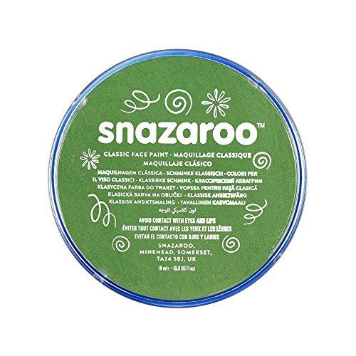 Snazaroo 1118477 Kinderschminke, hautfreundliche hypoallergene Gesichtschminke auf Wasserbasis, wasservermalbar, parabenfrei, grasgrün, 18 ml Topf