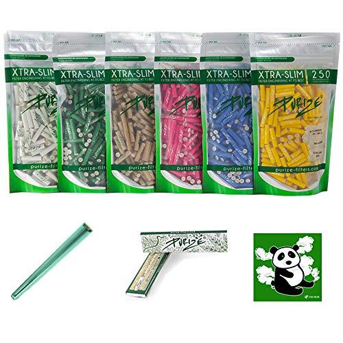 PURIZE (KOMPLETTSET-250er Aktivkohlefilter Xtra Slim 250 Stück + 32er Papers + Jointube + Sticker Filter in 6 erhältlich (Durchmesser 5,9 mm) (weiß)