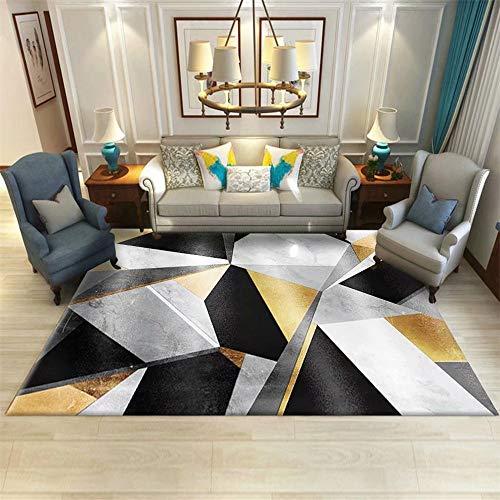 AU-SHTANG alfombras para dormitorios Alfombra de Mesa de Centro Informal Gris, Amarillo Dorado con diseño de patrón Irregular geométrico Lavable Alfombra de Dormitorio -Negro_Los 200x300cm
