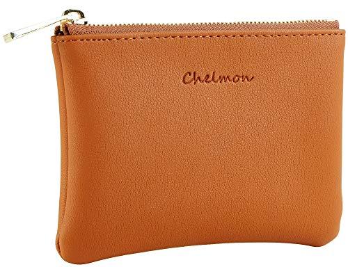 Chelmon Vegan Leather Coin Purse Pouch Change Purse With Zipper For Men Women (Tan)