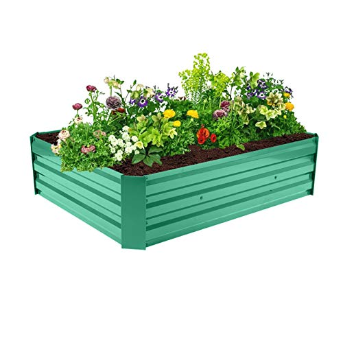 Jacquelyn Raised Garden Bed Green Raised Garden Bed Planter Box Anti-Rust Coating Planting Vegetables Herbs and Flowers for Outdoor Use
