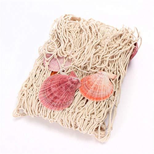 Dekorative Natürliche Fischernetz Muscheln, Ocean StarfisThemed-Wandbehänge, Fischernetz für die Wanddekoration zu Hause und Bilderrahmen zum Aufhängen (Beige, 100 cm x 200 cm)