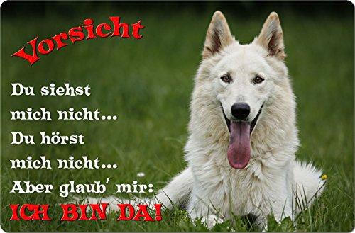 +++ Weißer SCHWEIZER SCHÄFERHUND - Metall WARNSCHILD Schild Hundeschild Sign - WSS 05 T2