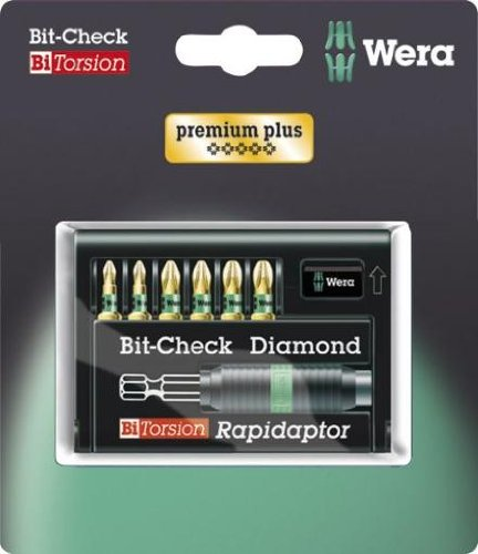 Wera 05073535001 Bit-Check Set 8755-6/BDC SB BiTorsion Diamond Anti Cam-Out with Rapidaptor for Drill/Drivers, High Resistant Materials, Pozidriv 7pc