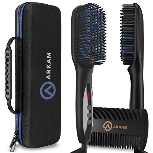 Arkam Deluxe Beard Straightener for Men - Ionic Beard Straightening Comb, Anti-Scald Feature, Hair...