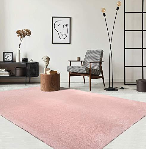 the carpet Relax Moderner Flauschiger Kurzflor Teppich, Anti-Rutsch Unterseite, Waschbar bis 30 Grad, Super Soft, Felloptik, Rosa, 60 x 110 cm