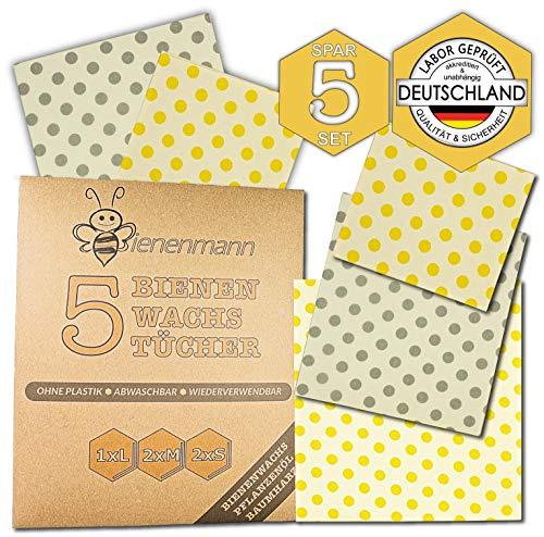 Bienenmann 5 Stück Bienenwachstücher für Lebensmittel Beeswax Wrap Wachstücher Bienenwachs Alternative Frischhaltefolie nach LFGB Bienenwachs Folie Wachstuch Lebensmittel Größen L M S
