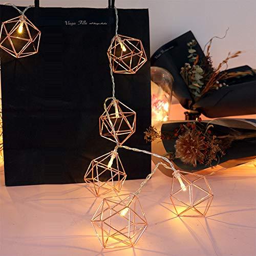 Star Supermarket kerstboom LED-verlichting decoratie, lichtkettingen jaargang lampenkap, batterij goud metaal veel lantaarn kooi geometrische lichten aangedreven voor tuinhoogte huis terras