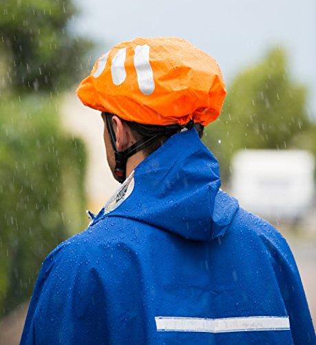 Wasserdichter Regenschutz für den Fahrradhelm (oranges Cover) Unisex Regenüberzug für den Helm mit Gummizug und Reflektor-Elementen – wasserfester Überzug für alle Helme (Herren, Damen, Kinder) - 4