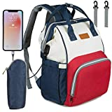 NEVEQ Mochilas de Pañales para Bebé, Maternal Bolso Multifuncional con USB de Viaje, Gran Capacidad, Impermeable (Rojo, azul y blanco)