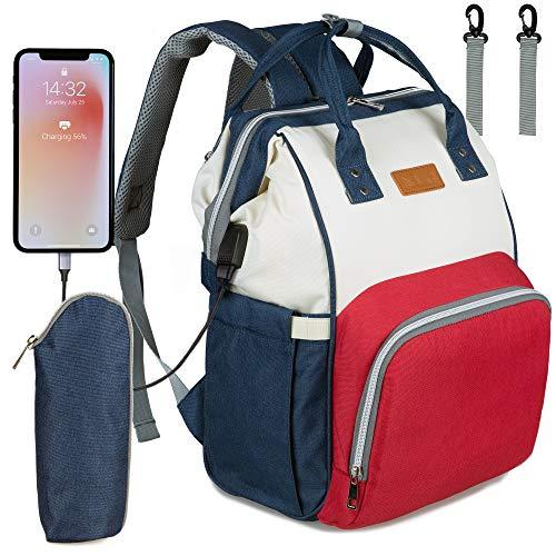 NEVEQ Baby Wickelrucksack, Babytasche für Reise, Wickeltasche Große Kapazität, Multifach Reise Rucksack Wasserdicht Fächer Babyflaschehälter (Rot, Blau und Weiß)