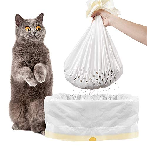 Adou-Cat Litter Box Liners Sifting-Cat Litter Bags -Quick Cleaning-Drawstring-Durable- Odorless-1 Bag of 7