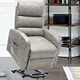 ERGOREAL Power Lift Chair Recliners for Elderly Heat&Massage Electric Recliner Lift for Seniors, Tufted Small Lift Recliner Premium Suede with Remote Control, Motorized Single Sofa-Grey