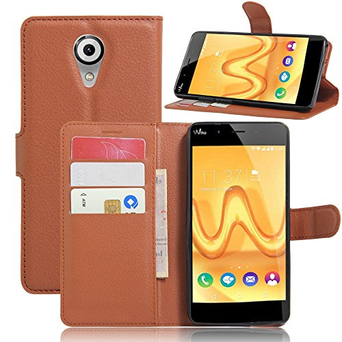 Tasche für Wiko Tommy Hülle, Ycloud PU Ledertasche Flip Cover Wallet Case Handyhülle mit Stand Function Credit Card Slots Bookstyle Purse Design braun