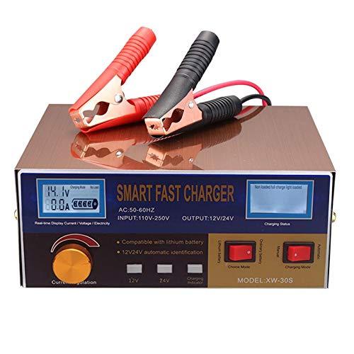 Tooart Cargador de Batería Automático - Cargador de Batería Automático Inteligente 12V / 24V Cargador de Batería Reacondicionador Reparación de Pulso con Pantalla Digital para Cel da de Automóvil Bate