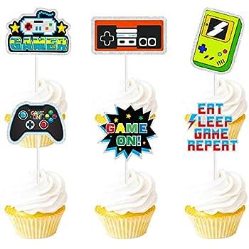 Dessert Cupcake Topper Green Glitter Video Game Retro Throwback Theme Decorations Happy Birthday Party Decor Supplies Set 18pcs