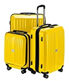 HAUPTSTADTKOFFER - X-Berg - 3er Koffer-Set Hartschalen-Koffer Koffer Trolley Rollkoffer Reisekoffer, TSA, (S, M & L) Gelb glänzend