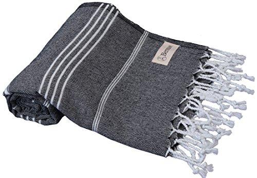 Bersuse - Asciugamano turco Anatolia, 100% cotone, 94 x 177 cm, colore: Nero