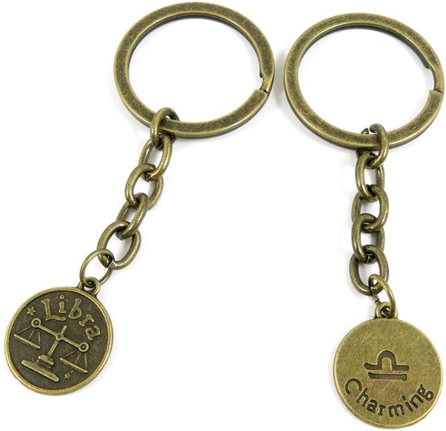 100 PCS Keyrings Keychains Key Ring Chains Tags Jewelry Findings Clasps Buckles Supplies A4ZW1 Libra