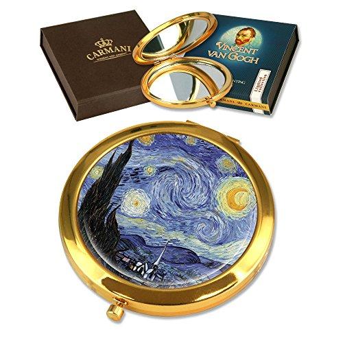 CARMANI - Plaqué Or Bronze poche, compact, Voyage, Miroir décoré avec de la peinture de Van Gogh 'La nuit étoilée'