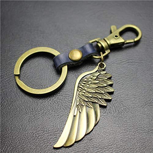 VYZSD sleutelhanger, leer, engel, vleugels, fiets, liniaal, voor honden, haak