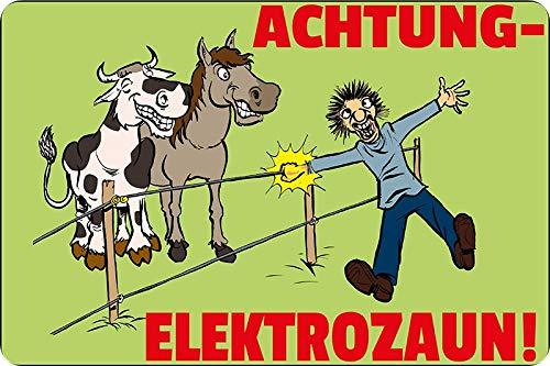 Generisch Blechschild 20x30cm gewölbt Achtung Elektrozaun Pferd Weide Pferde Stall Schild