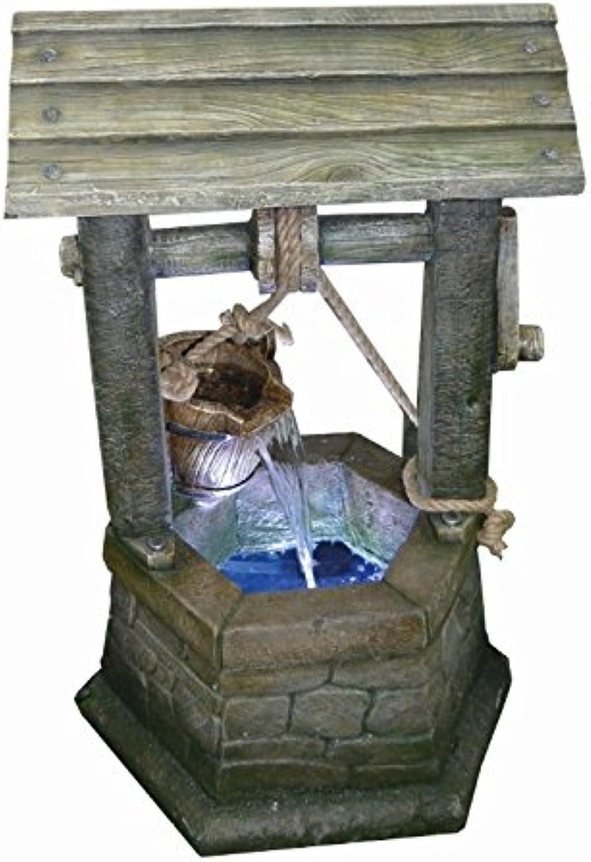 Medium Stone Wishing Well Lit Water Feature