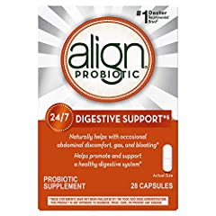 24/7 DIGESTIVE SUPPORT. Align Probiotic Supplement, for men and women, naturally helps with occasional abdominal discomfort, gas, and bloating. One capsule a day, taken with or without food, helps to maintain your digestive system's natural balance 1...