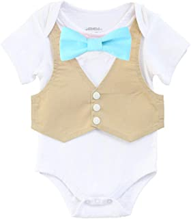 Baby Boys Vest and Bow Tie Outfit Baby Suit Summer Wedding Newborn Coming Home Fancy Tuxedo