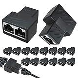 Androxeda 2- PCS RJ45 connessione Splitter adattatore Splitter Ethernet 1 a 2 connessioni doppia Presa, Cat 5 / Cat 6 / Cat 7 LAN Splitter Presa Ethernet Router TV Box fotocamera PC adattatore Lapop.