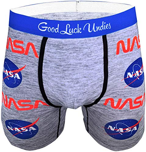 Good Luck Undies Men's NASA Boxer Brief Underwear, Small Grey