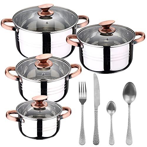 Bateria de cocina 8 piezas apta para induccion SAN IGNACIO Altea en acero inoxidable con cuberteria de 16 piezas en acero inoxidable Origen