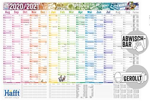 Abwischbarer Wandkalender Schuljahr 2020/2021 | Maße: 89cm x 63cm (>A1) | Übersichtlicher Schuljahres-Kalender, Schuljahres-Planer inkl. Ferientermine & Stundenpläne | nachhaltig & klimaneutral