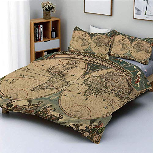 Duvet Cover Set,Dated Old Map of Ancient World Historic Geography Theme Antique Grungy Design PrintDecorative 3 Piece Bedding Set with 2 Pillow Sham,Multicolor,Best Gift For Ki
