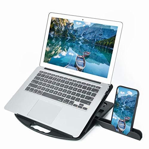 FSJD Soporte para Tableta computadora portátil, Soporte portátil de Escritorio Plegable Giratorio Ajustable Universal con ventilación Calor, múltiples ángulos Compatible/Tableta, Negro