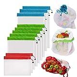 Bolsas Reutilizables Compra de YOWAO, Bolsas de Malla Ligera, Lavables y Transparentes para Almacenamiento de Frutas, Verduras, Juguetes, Comestibles y Supermercados (10 Unidades)