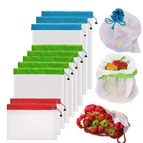 Wiederverwendbare Netzbeutel von Yowao, waschbar, durchsichtig, leicht, Netzbeutel für Obst, Gemüse, Spielzeug, Lebensmittel und Supermarkt (50D, 3 groß, 5 mittel, 2 klein)
