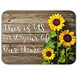 Absorbent Dish Drying Mat Autumn This Is Us Sign Microfiber Reversible Drying Mat for Dishes Pad for Kitchen Counter Decor Sunflowers 16x18 Inch