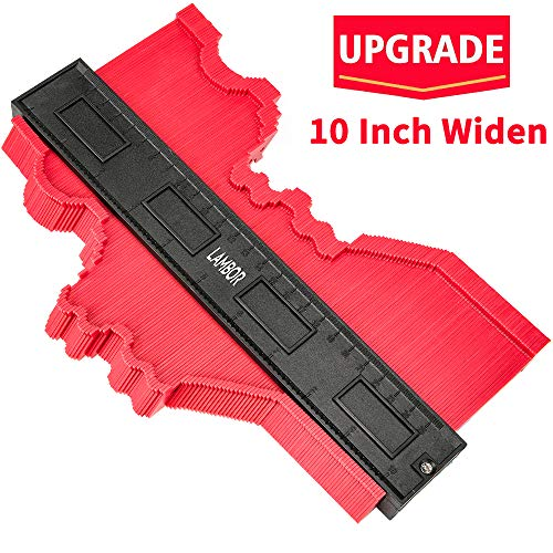 Contour Gauge 10 Inch, Widen Plastic Profile Gauge Duplicator, Precisely Copy Irregular Shapes Wood Template Measuring Tool for Perfect Fit and Easy Cutting (10 Inch Widen-Red)