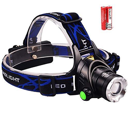 Zoomable Rechargeable Headlamp - LED Headlight Flashlight with Batteries - Head Flashlight - Best Tactical Headlamp - 2000 Lumen Hard Hat Light - Brightest Waterproof Led Head Lamp (Black)