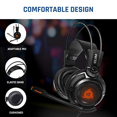 KLIM Puma – Cascos Auriculares Gaming con micrófono – Sonido Envolvente 7.1 Audio –...